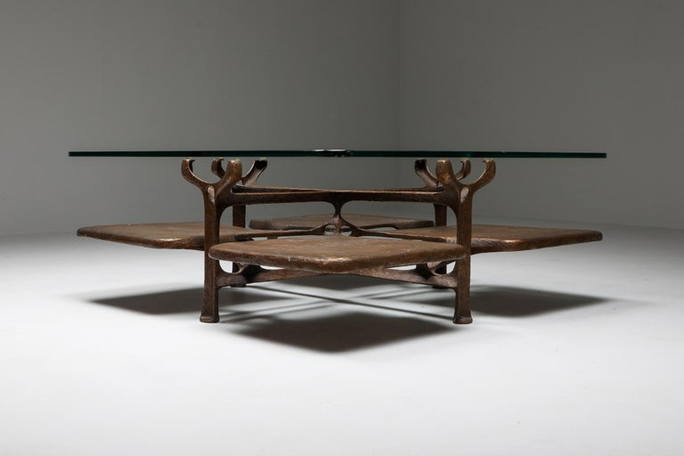 Bronze Wishbone Coffee Table Monogrammed AH For Sale 1