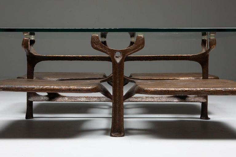 Bronze Wishbone Coffee Table Monogrammed AH For Sale 2