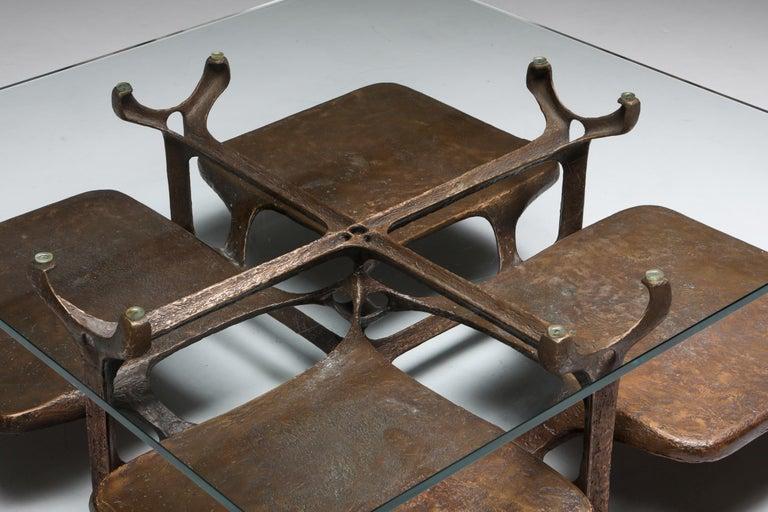 Bronze Wishbone Coffee Table Monogrammed AH For Sale 3