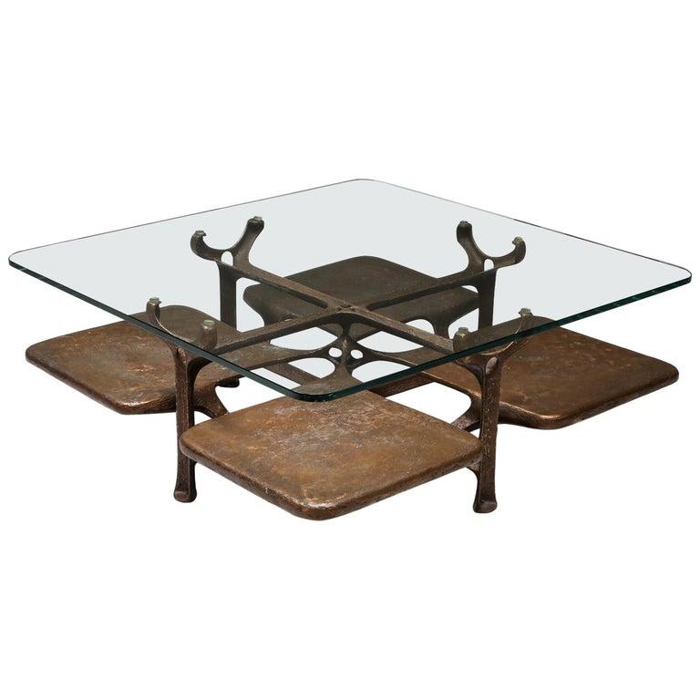 Bronze Wishbone Coffee Table Monogrammed AH For Sale