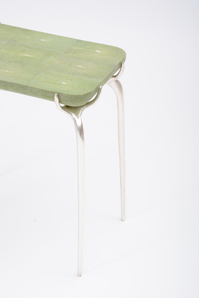 European Bronze with Silver Leaf Side Table with Green Shagreen Top by Elan Atelier For Sale