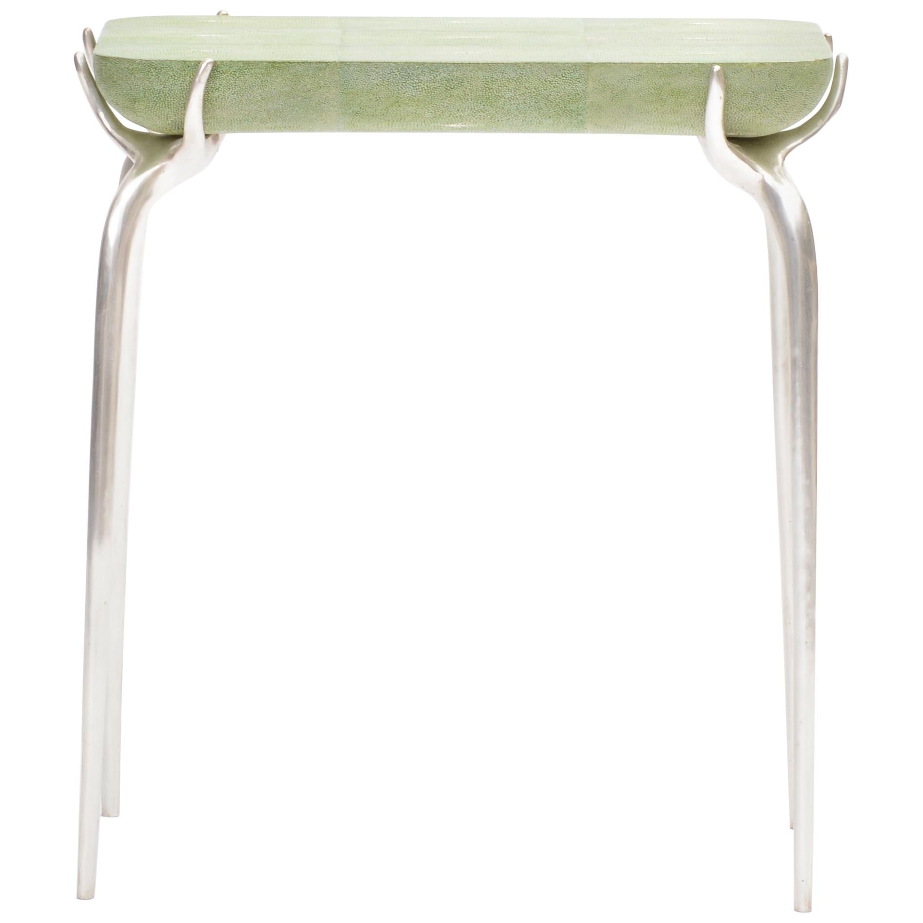 Bronze with Silver Leaf Side Table with Green Shagreen Top by Elan Atelier