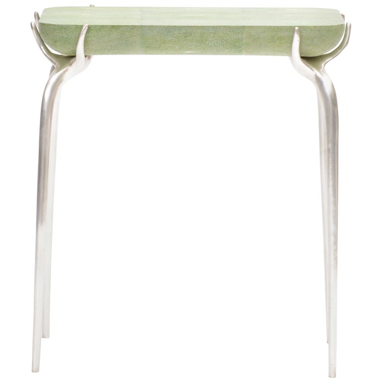 Bronze with Silver Leaf Side Table with Green Shagreen Top by Elan Atelier For Sale