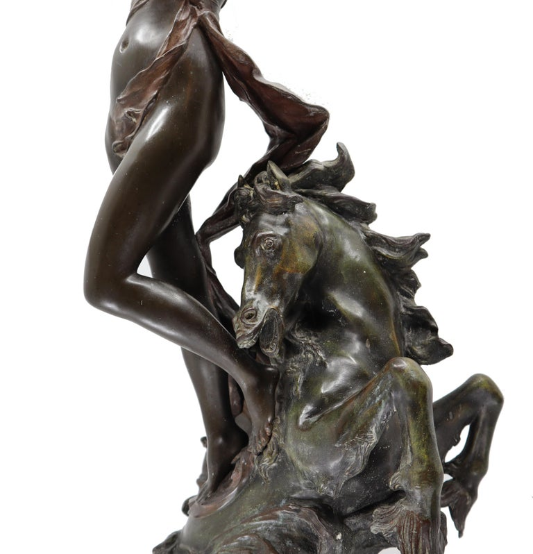 Bronze Woman and Horse in Movement, 19th Century, Édouard Drouot, French For Sale 7