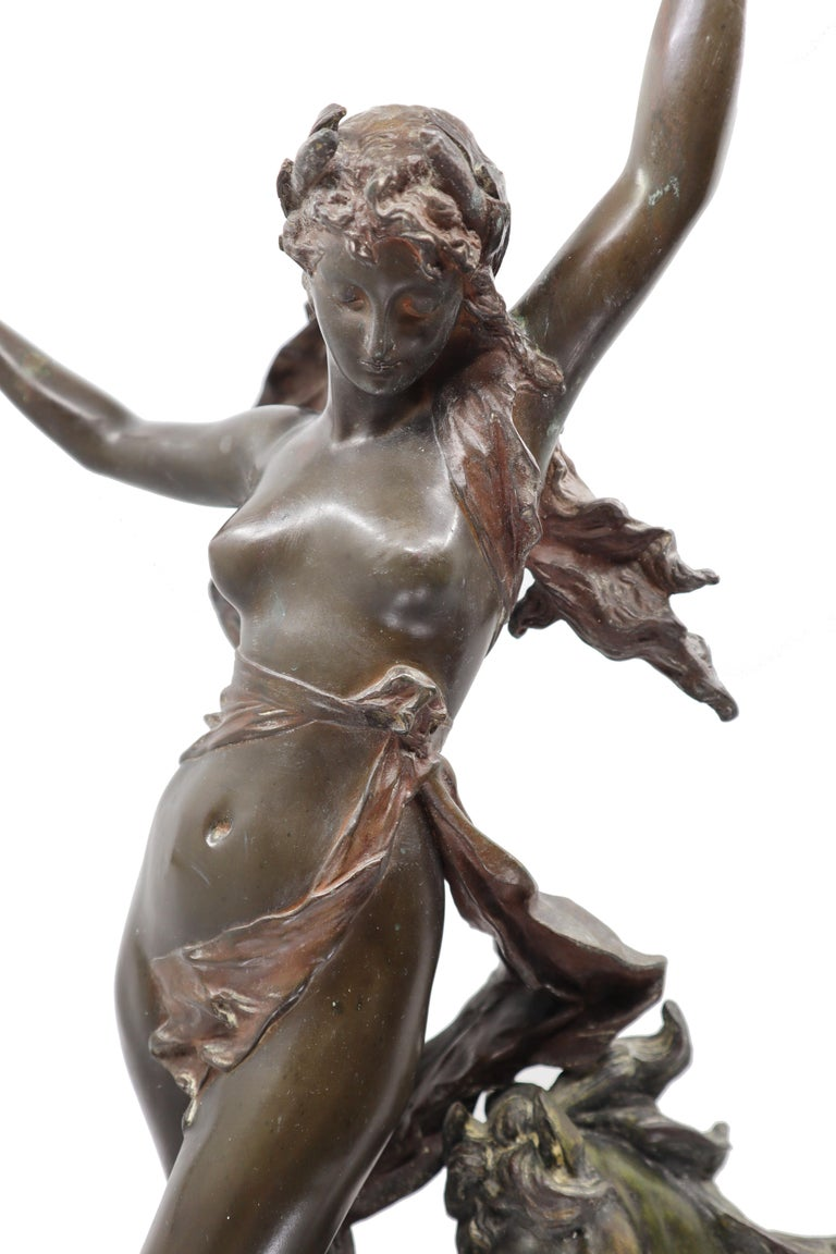 Bronze Woman and Horse in Movement, 19th Century, Édouard Drouot, French For Sale 1