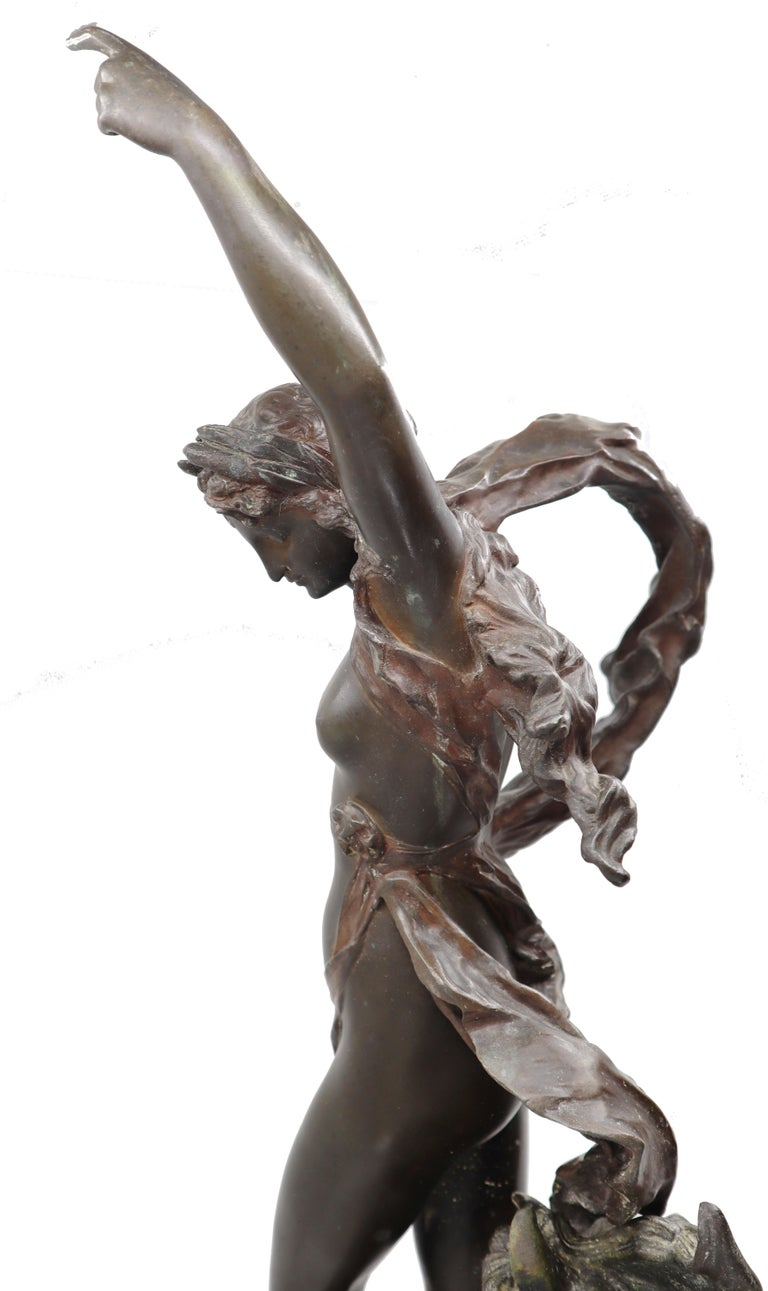 Bronze Woman and Horse in Movement, 19th Century, Édouard Drouot, French For Sale 2