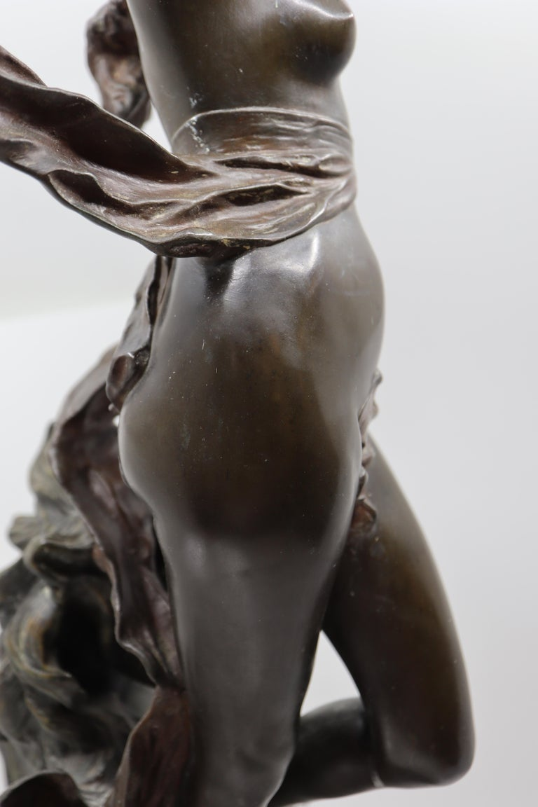 Bronze Woman and Horse in Movement, 19th Century, Édouard Drouot, French For Sale 4