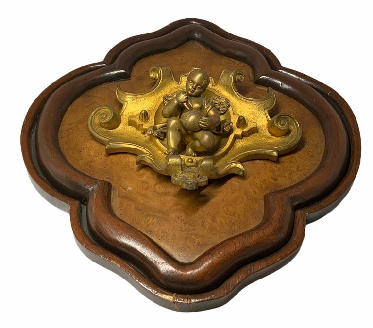 Victorian Bronze Wood Plaque of a Winged Cherub For Sale