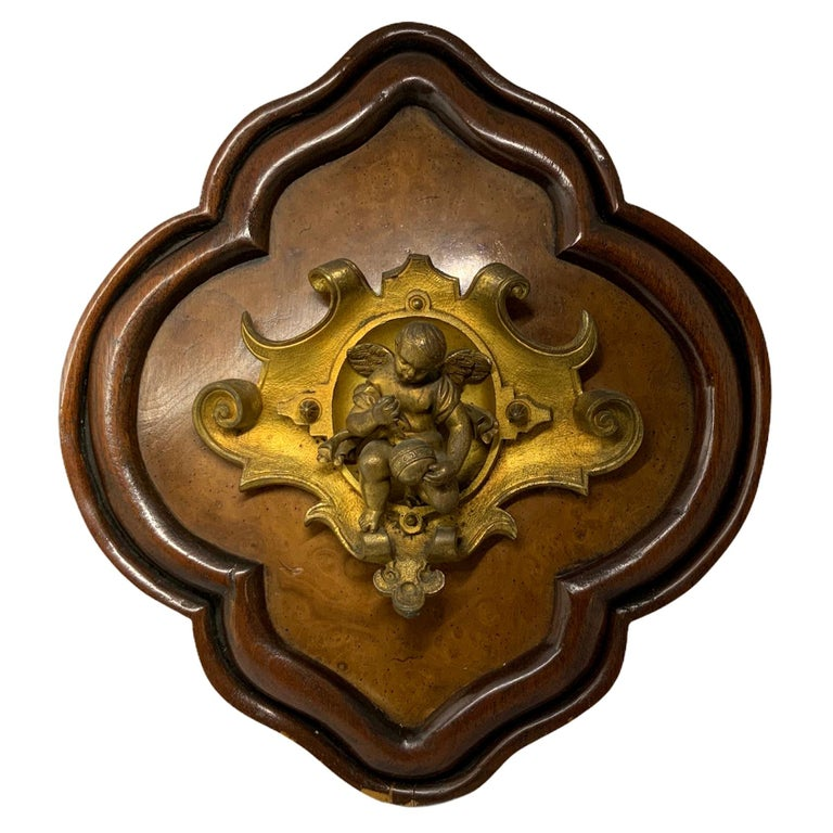 Bronze Wood Plaque of a Winged Cherub For Sale