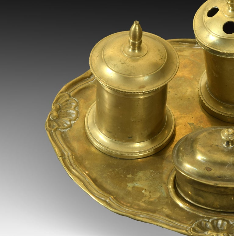 Neoclassical Bronze Writing Set, 19th Century For Sale