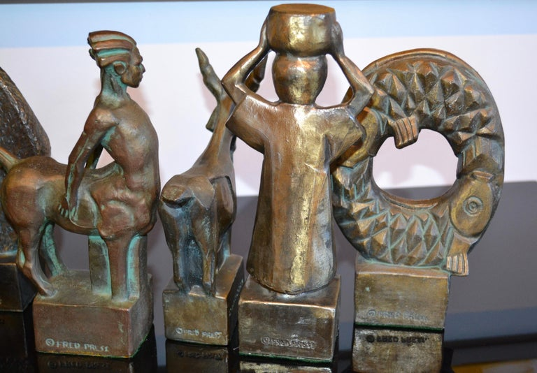 12 Astrological Zodiac Sign Brutalist Bronze Sculptures by Fred Press, 1950's For Sale 4