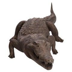 Bronzed Fiberglass Life-Size Crocodile Sculpture