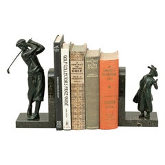 Bronzed Golf Bookends, Golfer and Caddie on Marble Base