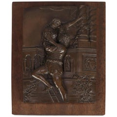 Bronzed High Relief Plaque Depicts Shakespeare's Classic Romeo & Juliet