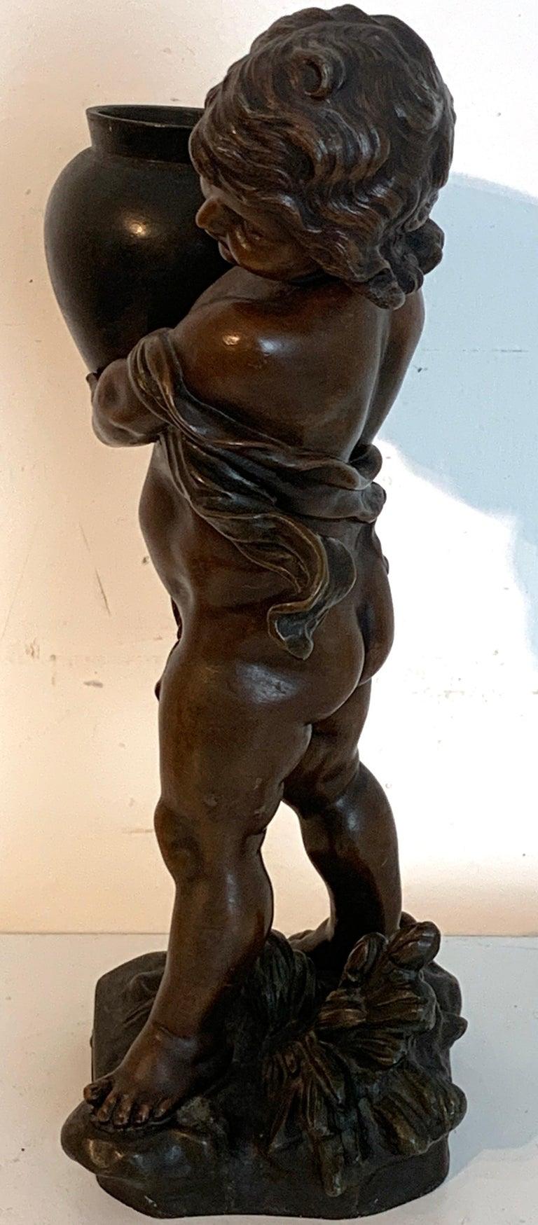 Bronzed Putto Jardinière/ Sculpture,