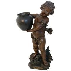 """Bronzed Putto Jardinière/ Sculpture, """"Bonne Fête"""" by A.J. Scotte"""