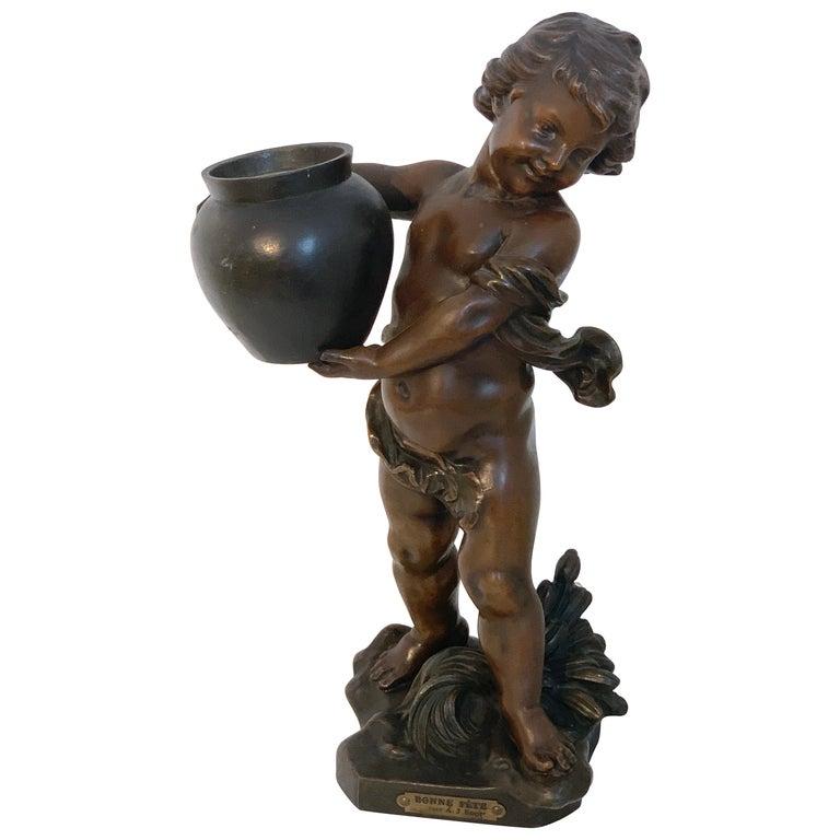 """Bronzed Putto Jardinière/ Sculpture, """"Bonne Fête"""" by A.J. Scotte For Sale"""