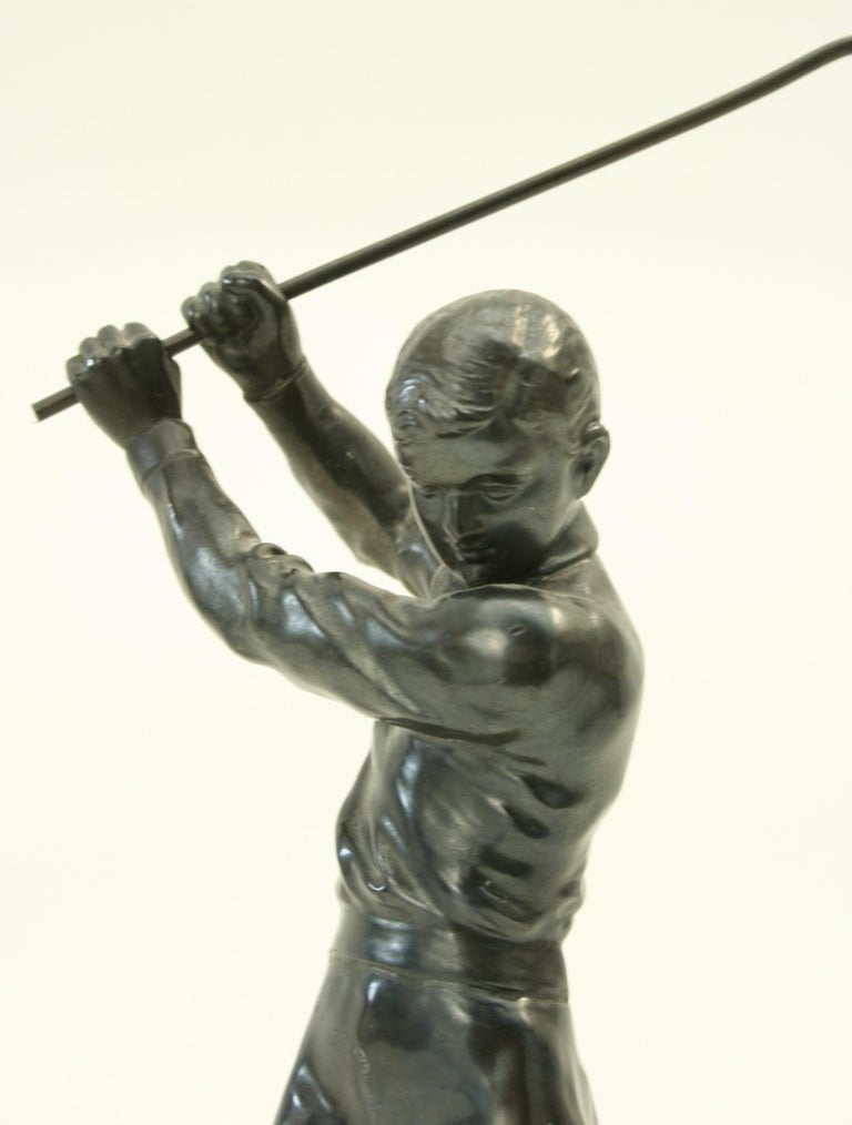 Sporting Art Bronzed Statue of a Boy Golfer For Sale