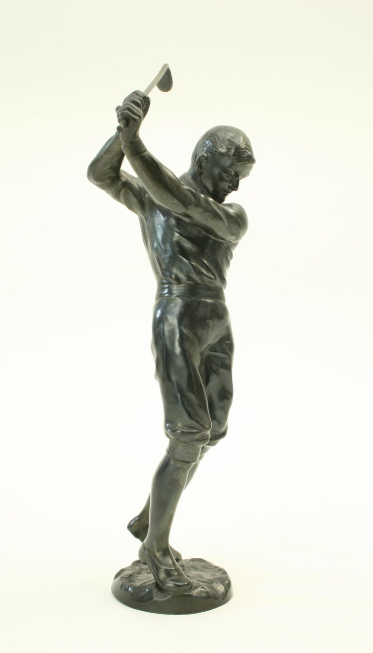 English Bronzed Statue of a Boy Golfer For Sale