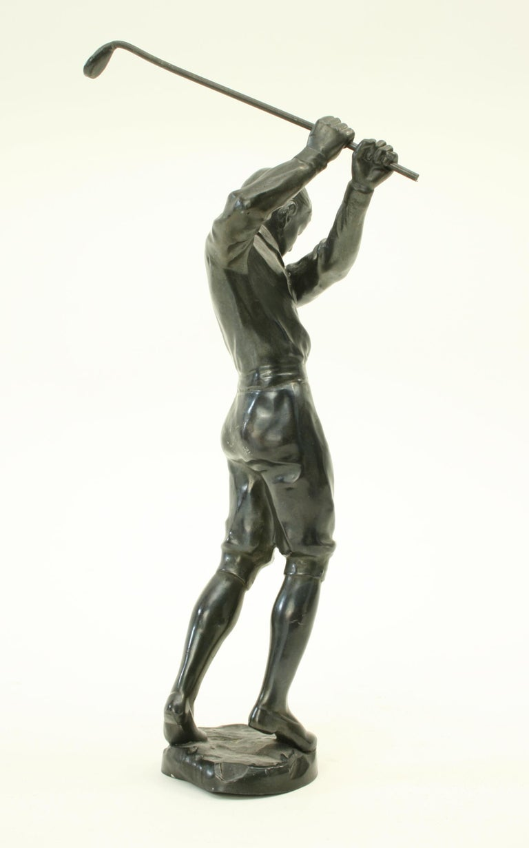 Bronzed Statue of a Boy Golfer In Good Condition For Sale In Oxfordshire, GB