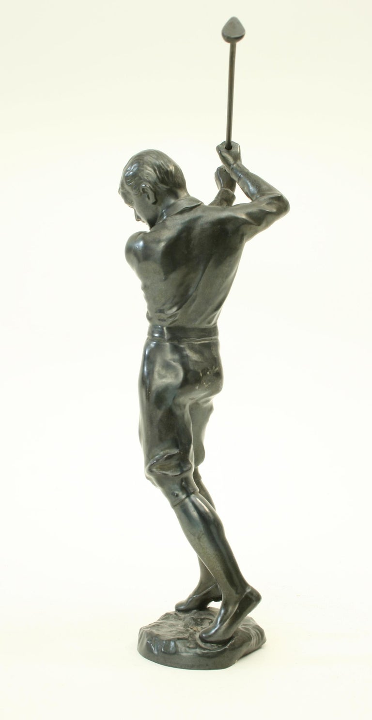 Mid-20th Century Bronzed Statue of a Boy Golfer For Sale