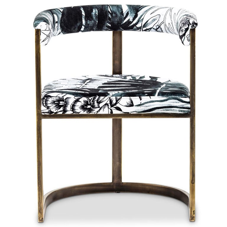 This classically inspired contemporary dining chair by Egg Designs, has a burnished bronze steel frame and is upholstered in Christian Lacroix velvet. This dining chair is recommended for residential, hospitality and restaurant applications.