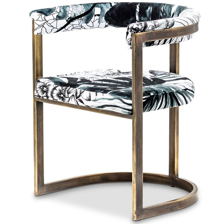 South African Bronzed Steel with Christian Lacroix Fabric, Modern Dining Chair by Egg Designs For Sale