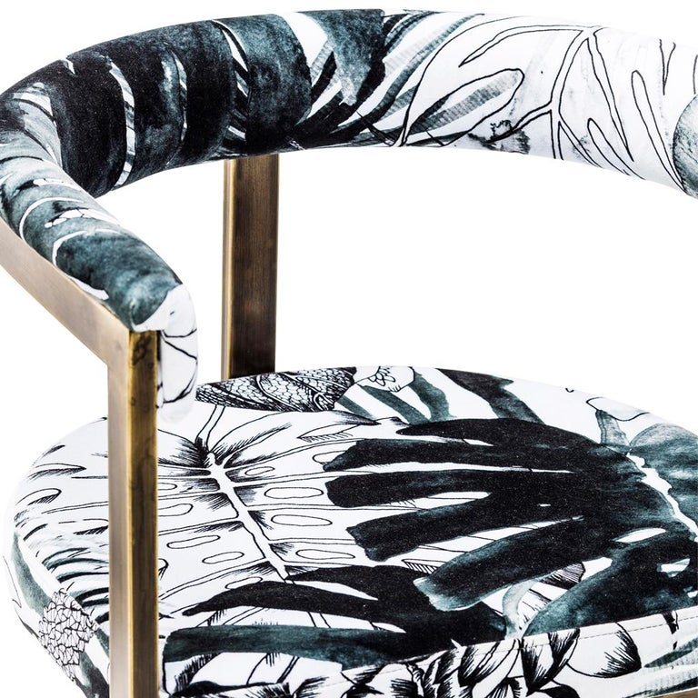 Burnished Bronzed Steel with Christian Lacroix Fabric, Modern Dining Chair by Egg Designs For Sale