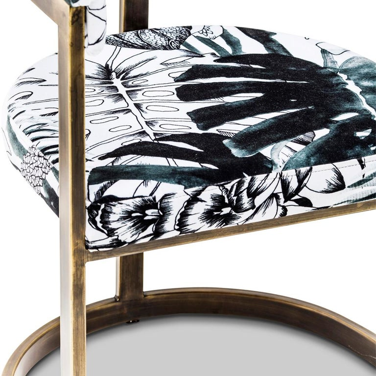 Bronzed Steel with Christian Lacroix Fabric, Modern Dining Chair by Egg Designs In New Condition For Sale In Bothas Hill, KZN