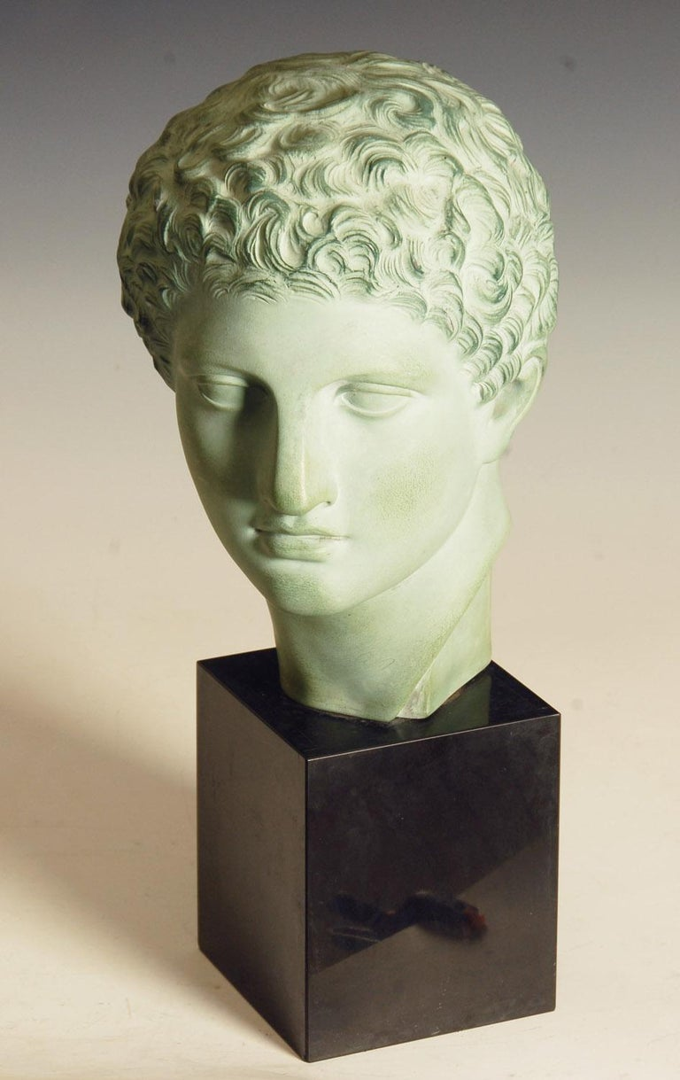 Bronzed Terracotta Bust Of Roman Greek Male On Marble