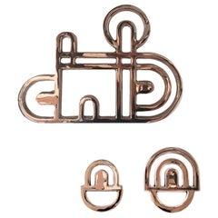 Bronzino Set of 3 Large Casting Bronze Hooks by Portego