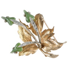 Brooch 14k Yg Leaf Shaped Jade Blossoms, Diamond Stems, Intricate Gold Carved