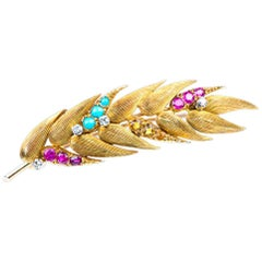 Brooch 18 Carat Gold mounted Ruby Diamond Turquoise Topaz Wheat Ear, circa 1970