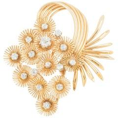 Brooch 18 Karat Gold and Diamond Cascade of Fireworks Design French, circa 1950