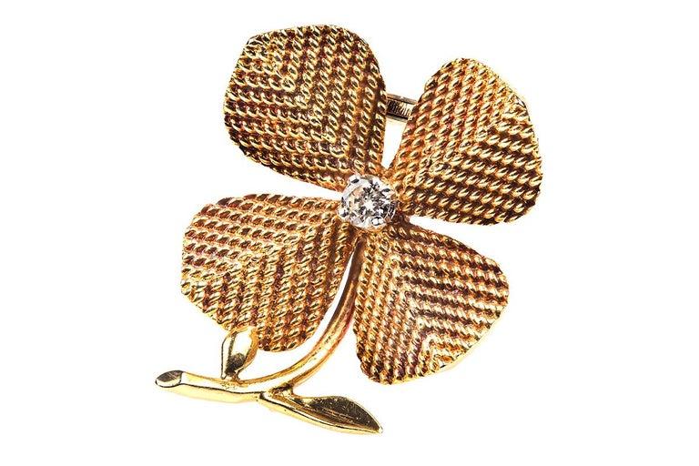Edwardian Brooch 18 Karat Gold and Diamond Four-Leaf Clover Sterle of Paris, circa 1950 For Sale
