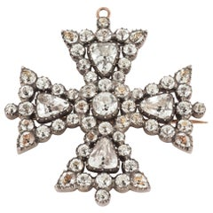 Maltese Cross Brooch with Brightly Foiled White Crystal, English circa 1820.