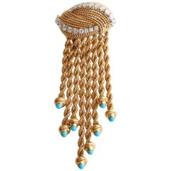 Brooch 1950s in 18 Karat Yellow Gold Braided Gold Wire, Diamonds and Turquoises
