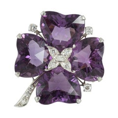 Brooch Amethyst and Diamond Platinum Mounted Four Leaf Clover, circa 1950