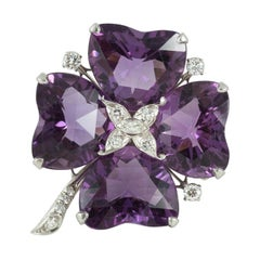 Four Leaf Clover Brooch in Platinum with Amethysts & Diamonds, USA circa 1950