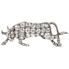 Raging Bull Brooch, Diamond set in Gold & Silver with Ruby, English circa 1870