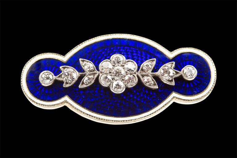 Old Mine Cut Brooch Antique Diamond Blue and White Enamel Oval in 18 Carat Gold, circa 1890 For Sale