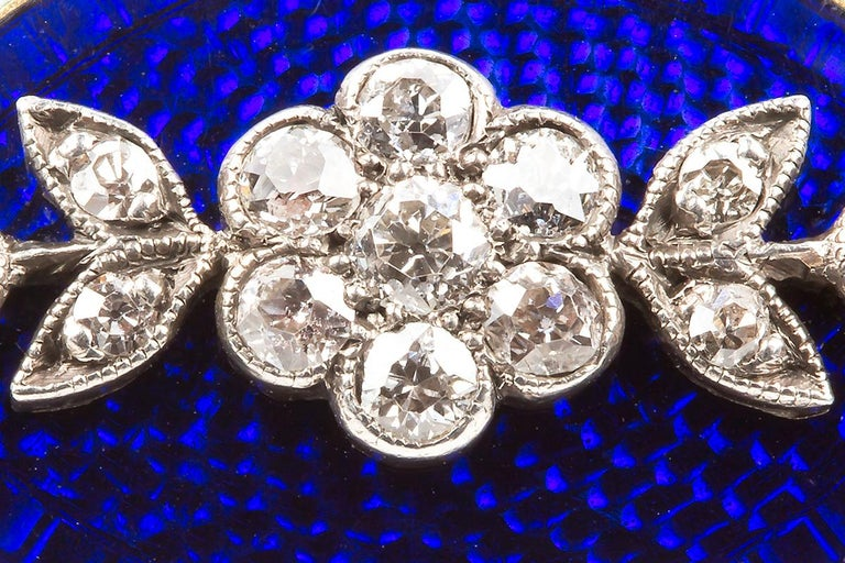 Women's Brooch Antique Diamond Blue and White Enamel Oval in 18 Carat Gold, circa 1890 For Sale