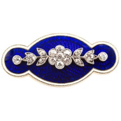 Brooch Antique Diamond Blue and White Enamel Oval in 18 Carat Gold, circa 1890