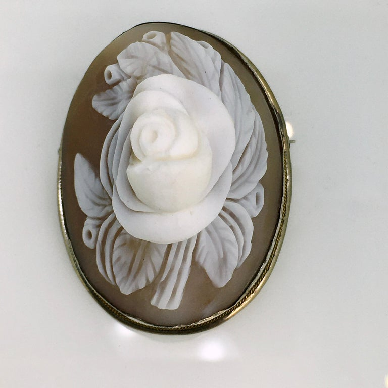 Victorian Brooch, Antique, Silver, Shell Cameo, 1900 For Sale