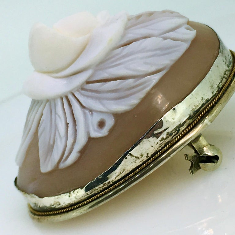 Brooch, Antique, Silver, Shell Cameo, 1900 In Good Condition For Sale In EL Waalre, NL