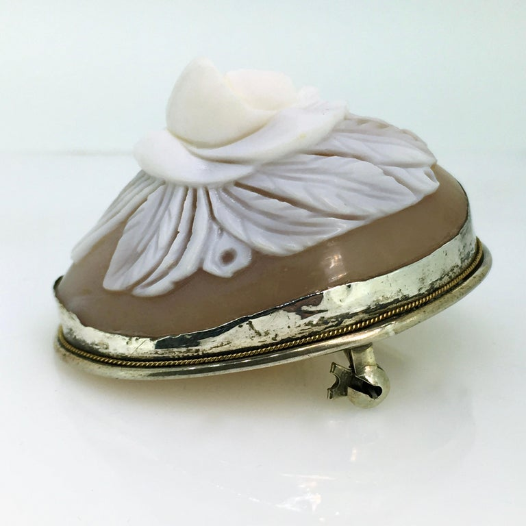 Women's Brooch, Antique, Silver, Shell Cameo, 1900 For Sale