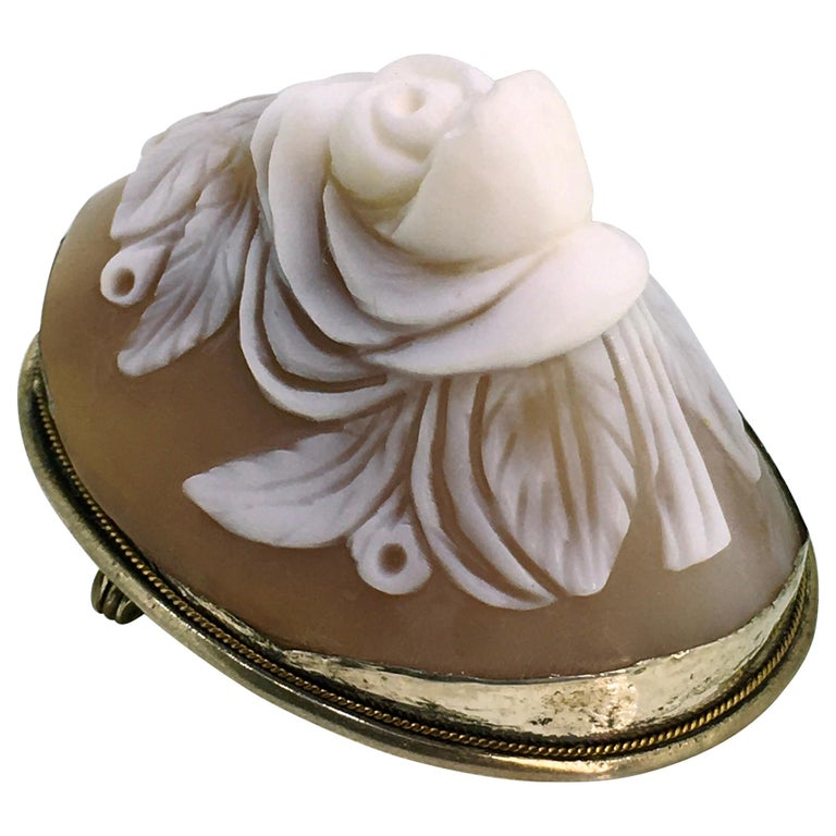 Brooch, Antique, Silver, Shell Cameo, 1900 For Sale