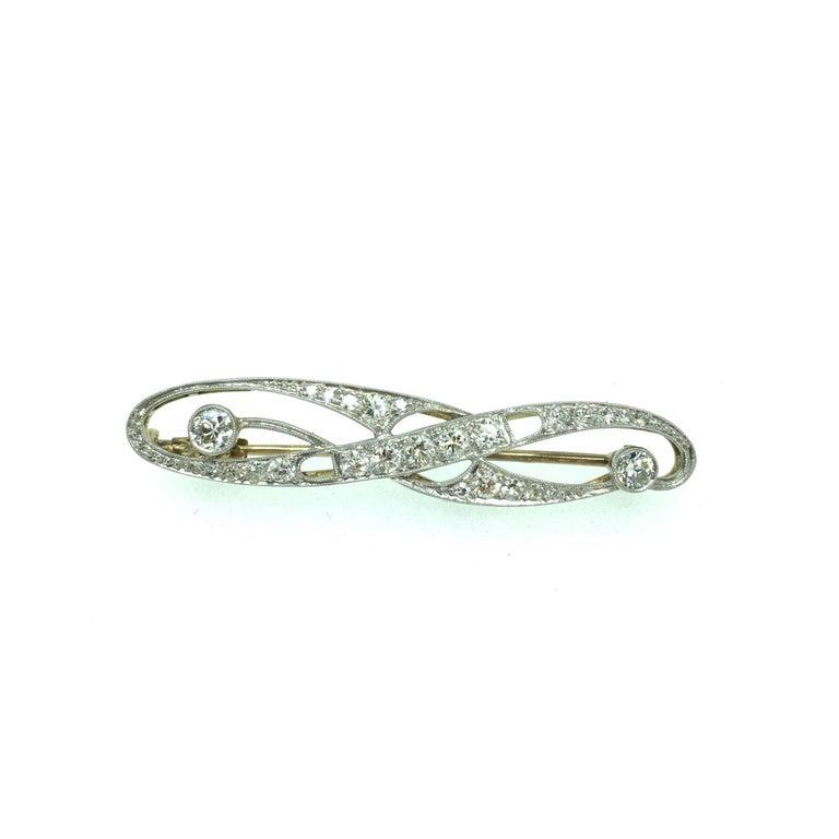 Women's Brooch, Art Deco, White Gold, Diamond For Sale