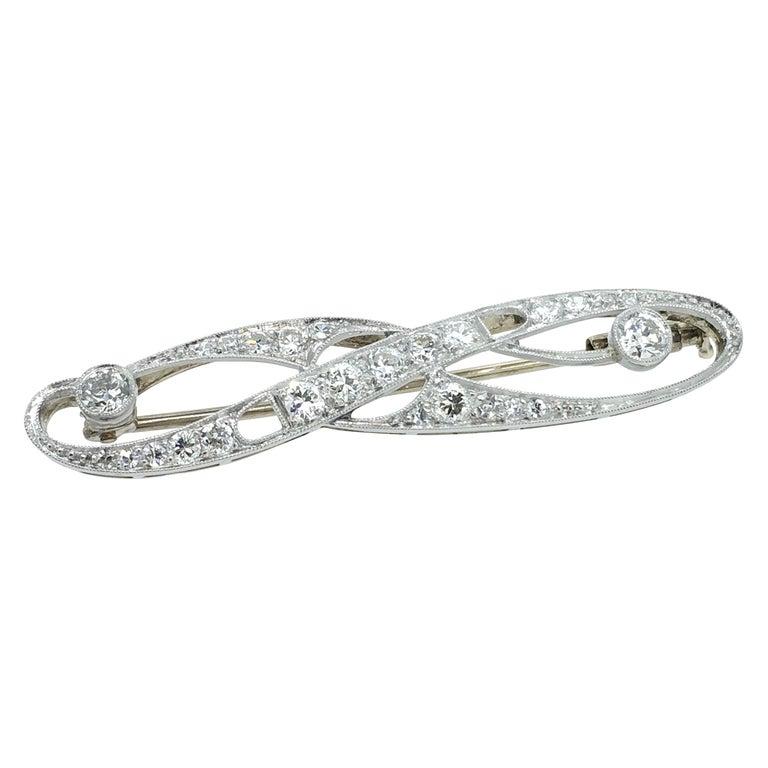 Brooch, Art Deco, White Gold, Diamond For Sale