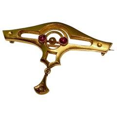 Brooch, Art Nouveau, Gold, Antique, Ruby, Pearl
